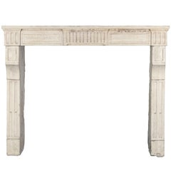 18th Century, Small French Classic Louis XVI Antique Limestone Fireplace