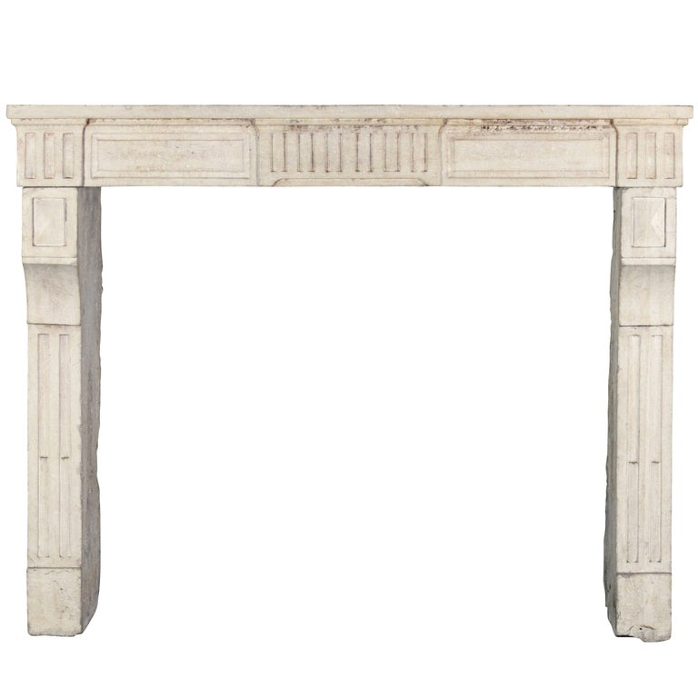 18th Century, Small French Classic Louis XVI Antique Limestone Fireplace For Sale