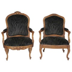 Mr. and Ms. Pair of Antique French Walnut Bergeres in Velvet Animal Print