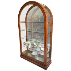 20th Century Grand Demilune Mahogany Display Cabinet or Vitrine with Mirror Back