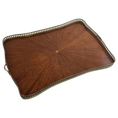 French Rosewood Marquetry Sunburst Serving Tray with Bronze Gallery, circa 1900