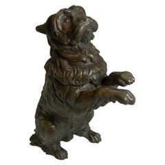 Antique English Bronze Figural Inkwell, Begging Dog with Glass Eyes, circa 1890