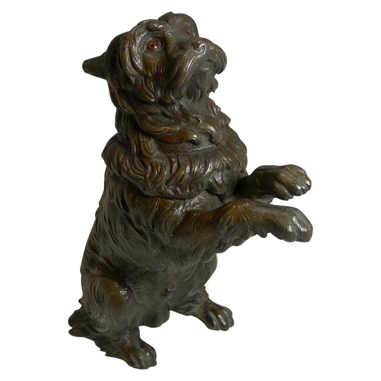 Antique English Bronze Figural Inkwell, Begging Dog with Glass Eyes, circa 1890 For Sale