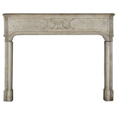18th Century French Country Hard Limestone Antique Fireplace Surround