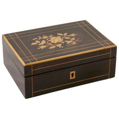 Early 19th Century French Charles X Palisander Sewing Box with Lemon Wood Inlay