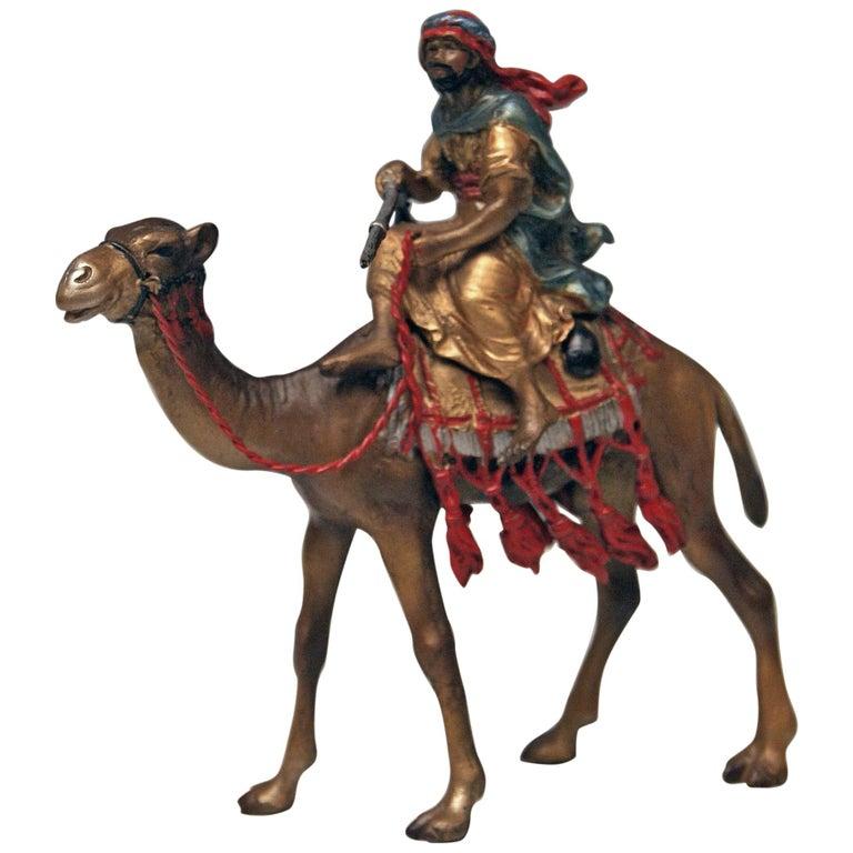 Vienna Bergman Bronze Arab Man Riding on Camel Vintage, 1890-1900 For Sale
