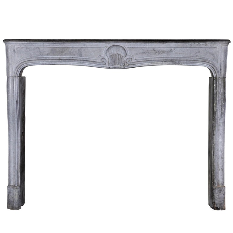 18th Century French Country Bleu Stone Regency Fireplace Surround For Sale