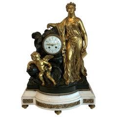 Regency Large Marble Dore Patinated Bronze Ormolu Clock Figural Cherub Maiden
