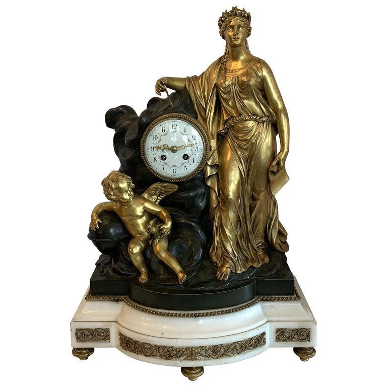 Regency Large Marble Dore Patinated Bronze Ormolu Clock Figural Cherub Maiden For Sale