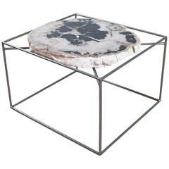 Side or Cocktail Table with Petrified Wood Tabletop Metal Frame Base