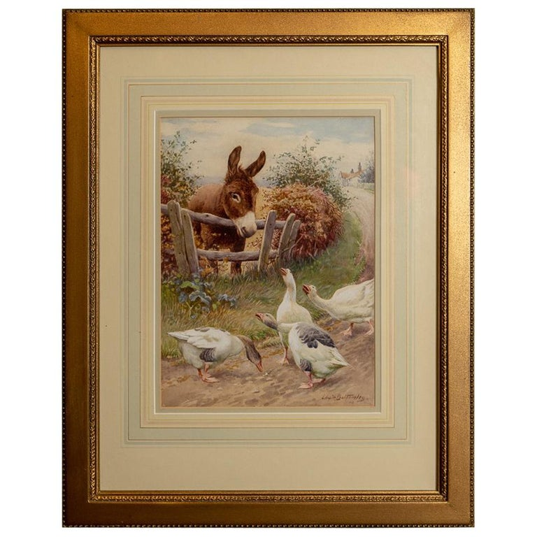 Watercolor by Edwin Bottomley, Consulting the Oracle For Sale
