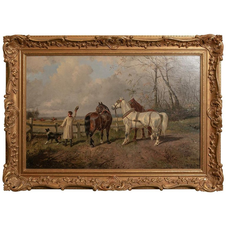 Farmer and Hunt Scene Oil on Canvas Painting by S J Clark For Sale