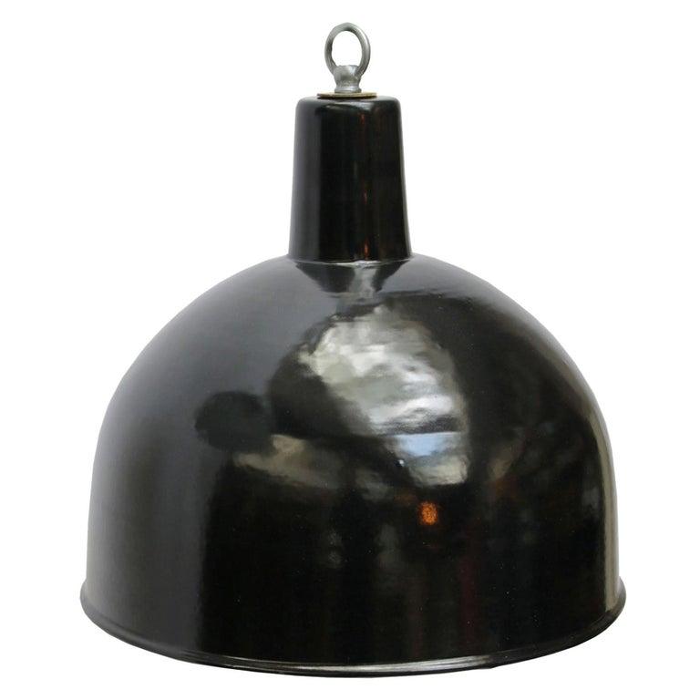Black Enamel Vintage Industrial Factory Hanging Lights Pendants For Sale