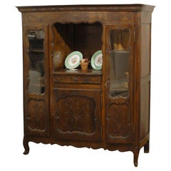 Late 19th Century French Walnut Vitrine Louis XV Style