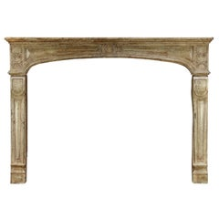 18 Century French Cosy Grand Hard Limestone Antique Fireplace Surround