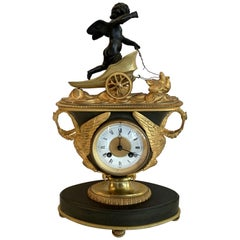 Wonderful French Empire Gilt Patinated Bronze Cherub Chariot Swan Chickens Clock