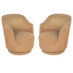 Pair of Curvaceous Swivel Chairs
