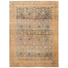 Antique Sky Blue Persian Tabriz Rug