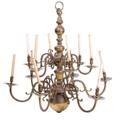 Early 20th Century French Brass Chandelier