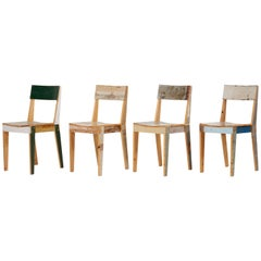 Set of Four Lacquered Oak Chairs in Scrapwood by Piet Hein Eek