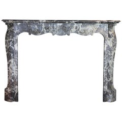 19th Century Fine European Grey Marble Antique Fireplace Surround