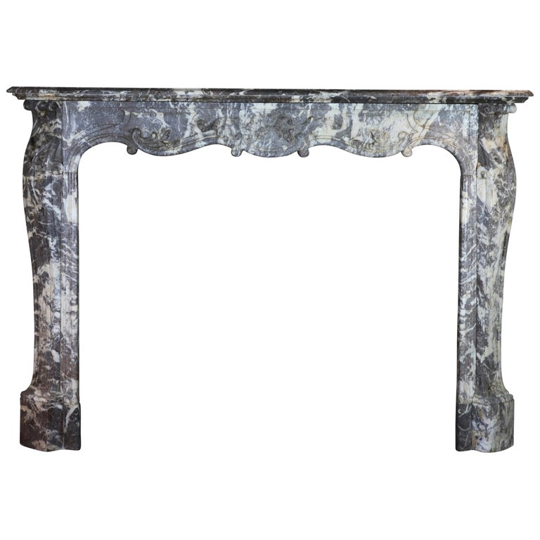 19th Century Fine European Grey Marble Antique Fireplace Surround For Sale
