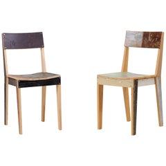 Pair of Untreated Oak Chairs Made of Scrapwood by Piet Hein Eek