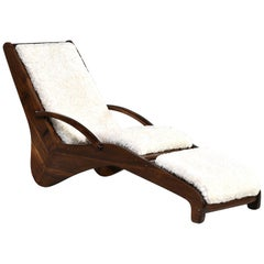 Midcentury Italian Chaise Longue with Faux Shearling Upholstery