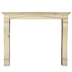 19th Century French Country Hard Limestone Antique Fireplace Surround