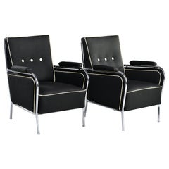 Pair French Midcentury Chrome Framed Club Chairs in Black with Ivory Detailing