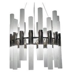 Alberto Donà Mid-Century Modern Crystal Pulegoso Murano Glass Chandelier, 1995