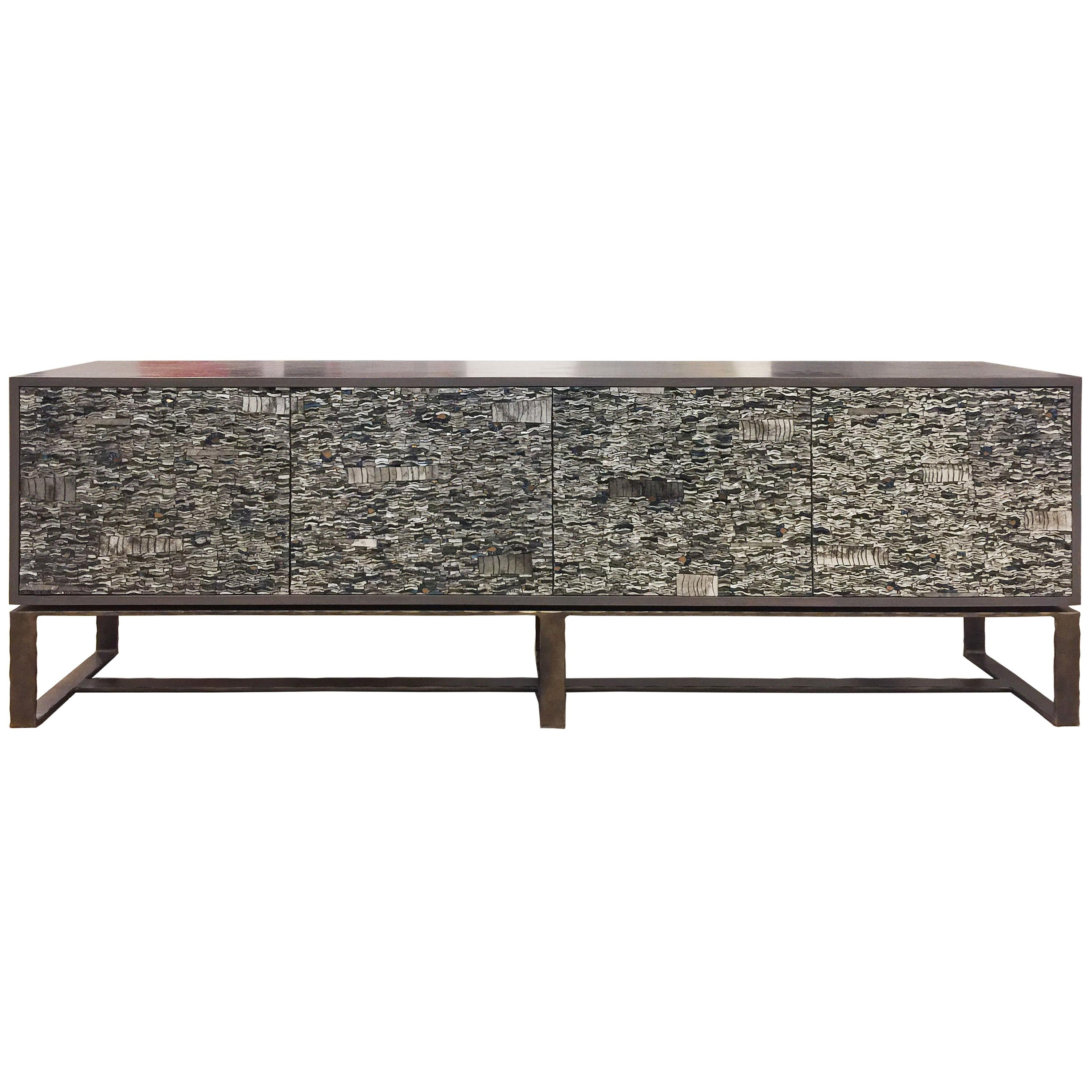Customizable Gray Ravenna Glass Mosaic Cabinet with Metal Base by Ercole Home