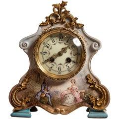 Porcelain Mantle Clock by S Marti of Paris, France, 1889