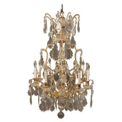 Beautiful Late 19th Century Gilt Bronze and Crystal Eight-Light Chandelier