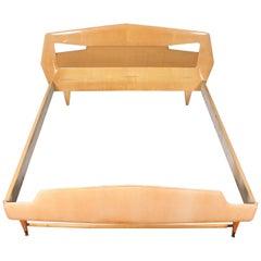 Midcentury  maple wood Double Bed Silvio Cavatorta for Dassi  Italy 60s