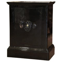 """19th Century French Metallic Black Painted Iron """"Fichet"""" Fire Safe"""