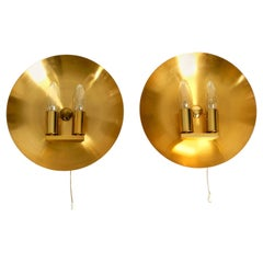 Pair of Very Rare and High Quality 1970s Round Brass Wall Lamps, Sconces by WKR