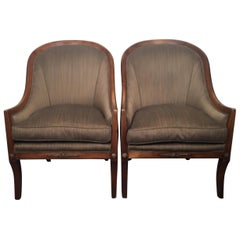 Handsome Pair of Fruit Wood Lounge Chairs with Silk Upholstery