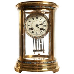 Oval Four Glass Clock in Brass and Champléve by S Marti