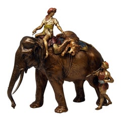 Vienna Bergman Bronze Big Game Hunters with Elephant and Tiger Vintage, 1890