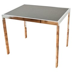 Midcentury Design Institute America 'DIA' Chrome and Black Slate Side Table