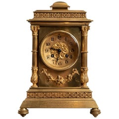 French Brass 8 Day Mantel Clock by Vincent & Cie, circa 1860