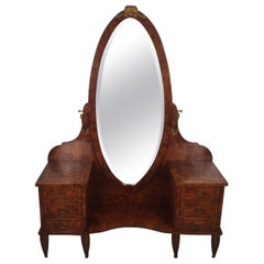 French Burled Walnut Vanity with Mirror