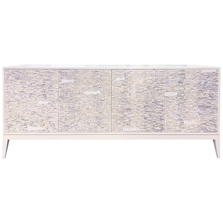 Customizable White Milano Buffet in Ravenna Glass Mosaic by Ercole Home For Sale