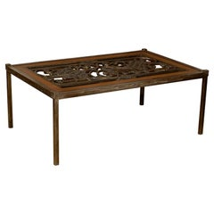 Coffee Table Made from 19th Century Iron Grill with Wood