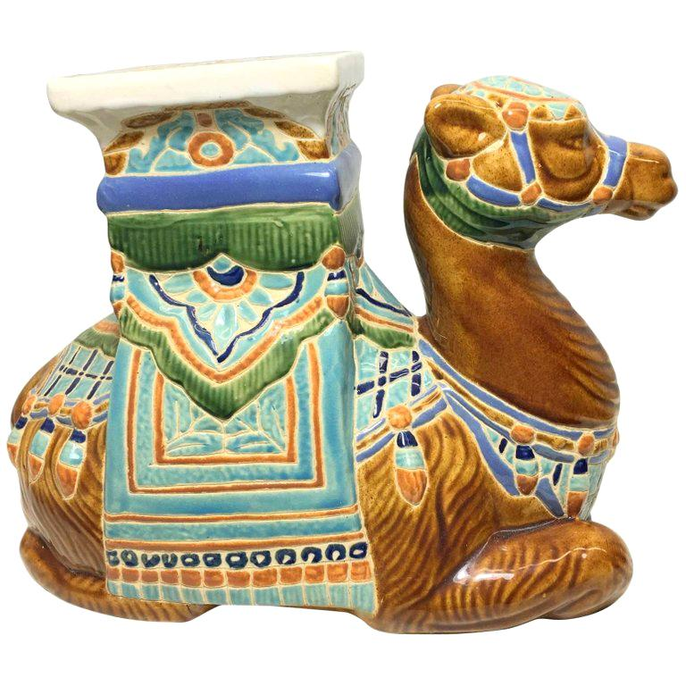 Patio Decoration Ceramic Hollywood Regency Camel Garden Stool or Side Table For Sale