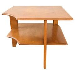 Midcentury Heywood Wakefield Corner Maple Wood Side Table, 1940s