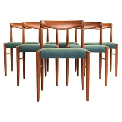 Danish Set of 6 Chairs in Teak by HW Klein for Bramin with New Hallingdal Fabric