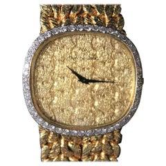 Bueche Girod 18-Karat Gold Watch with Original Diamond Bezel