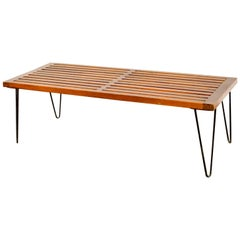 Midcentury Nelson Style Walnut Wood Slat Bench with Hairpin Legs, 1960s